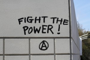 graffiti: 'FIGHT THE POWER'