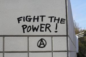 graffiti: 'FIGHT THE POWER'