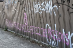 graffiti: 'REVENGE 4 TERRENCE D BRISCOE, FIRE TO THE PRISONS'