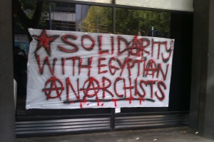 Solidarity with Egyptian Anarchists banner