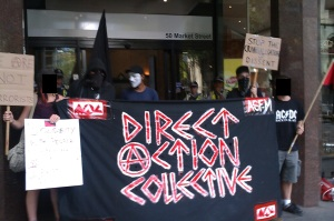Demo at Egyptian consulate Melbourne - Direct Action Collective banner